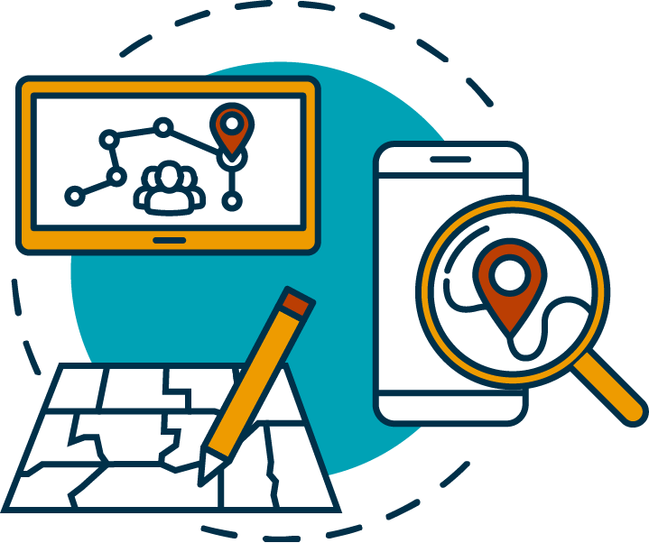 icon featuring tablet with map and person icon, smartphone with location icon, and redistricting map
